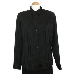 Washed Stretch Satin Pintuck Pleat Shirt Top L